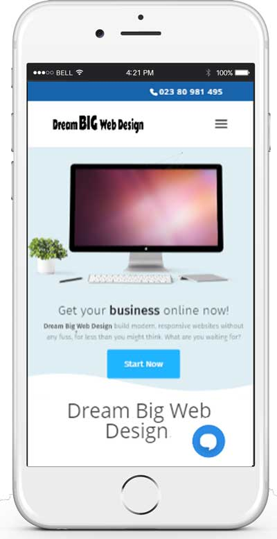 iphone showing dream big web design website