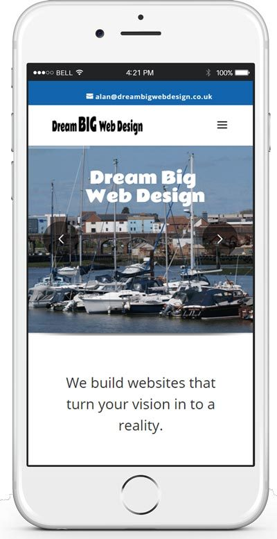 iphone showing dream big web design fareham